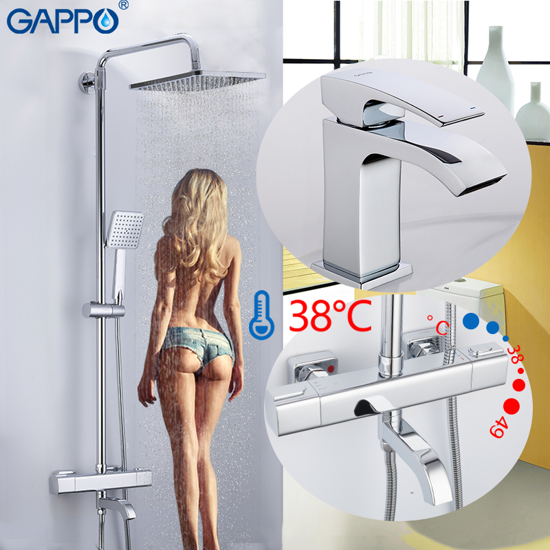 GAPPO Bathtub Faucets Do Anheiro Thermostat Shower Bathtub Faucet Bath Shower Mixer Chrome Basin Faucet Shower Head Set System