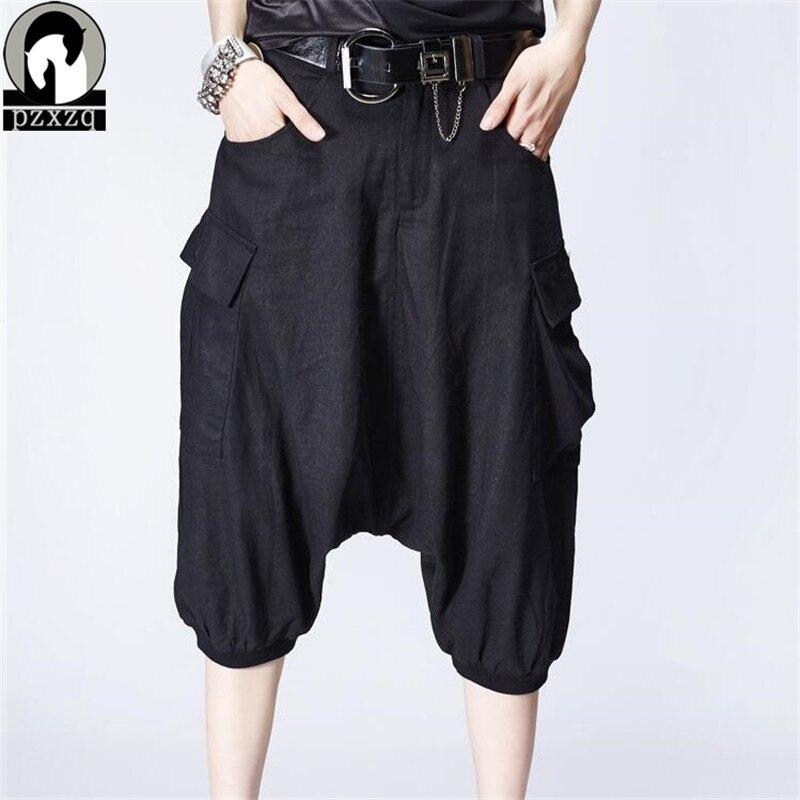 NOIR Casual 2016 Mode femmes entrejambe pantalon, pantalon large, plus la taille danse Capris Pantalon, pantskirt défaites de Harem pantalon