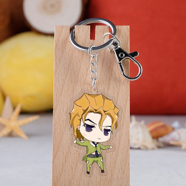 Anime JOJO Bizarre Adventure Keychain Cartoon Figure Acrylic Pendent Keyring 4