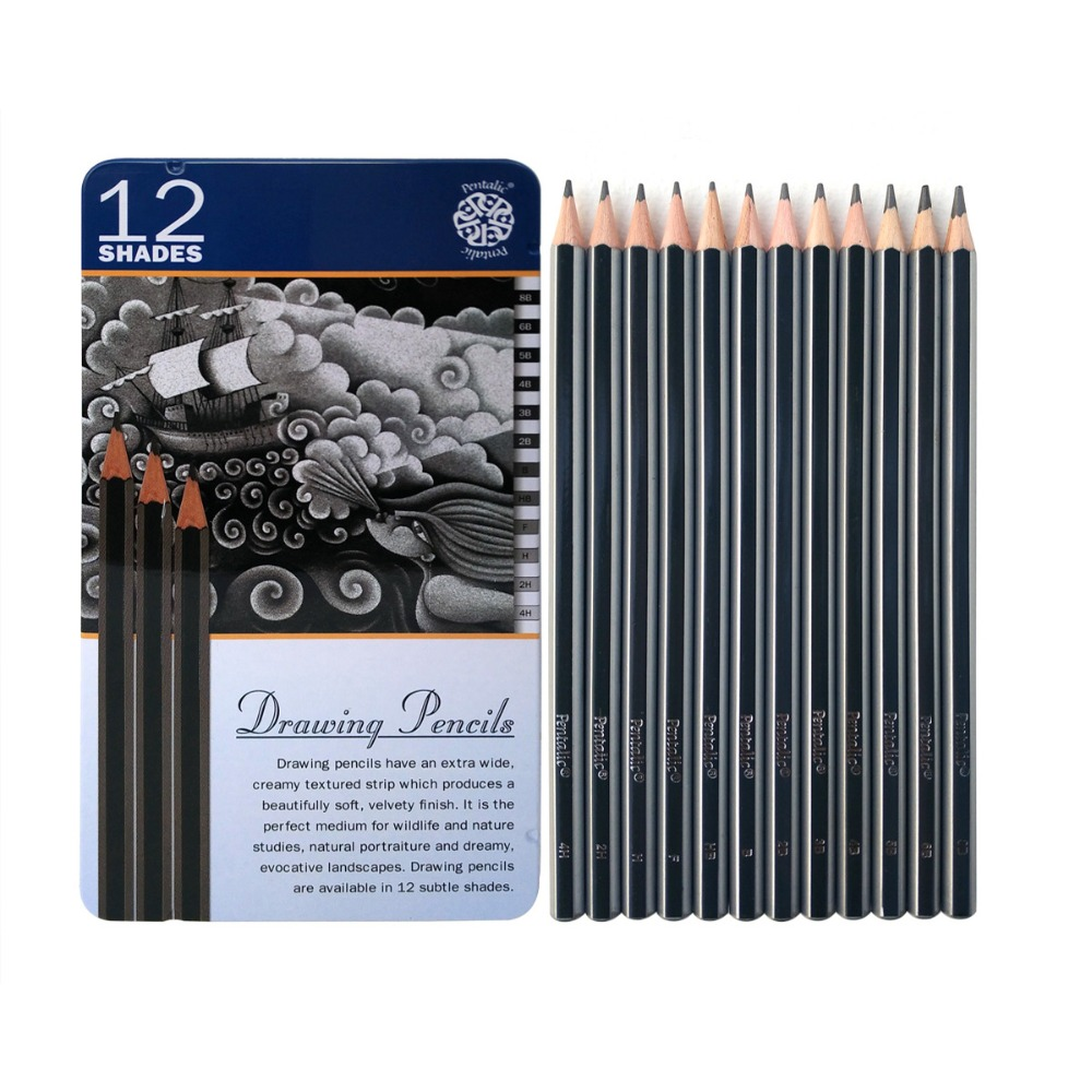 Artist quality 12pcs 2h 8b 12b set graphite lapis sketch standard pencils professional pencil drawing tools set for art supplies in standard pencils from