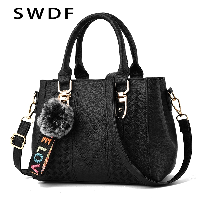 SWDF Luxury Women Handbags Fashion Ladies Solid Color Hairball Bag PU Leather Tote High Quality Zipper Style Ladies Shoulder BagSWDF Luxury Women Handbags Fashion Ladies Solid Color Hairball Bag PU Leather Tote High Quality Zipper Style Ladies Shoulder Bag