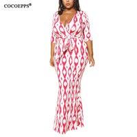 COCOEPPS 2018 Autumn 6XL 5XL Plus Size Print Maxi Dress Bandage V Neck Big Size Low
