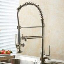 Двойной Изливы Матовый Никель Поворотный Весна Ванная Кухня Кран Палуба Гора