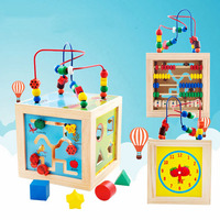 5 In 1 Play Methods Baby Wooden Toys Kids Colorful Playing Funny Toy Large Around Beads Educational Toy Children Gifts Math Toys