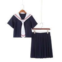 Women Japanese JK Sets School Uniform Girl Dark Blue High School Navy Sailor Suits Uniforms Halloween Costume S XXL