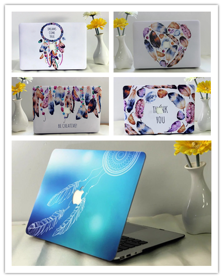 Fasion Hard Case Protector With Painting Feather Style For Macbook 12 Inch Air 11 13 Inch Pro 13 15 Inch Pro Retina 13 15 Inch