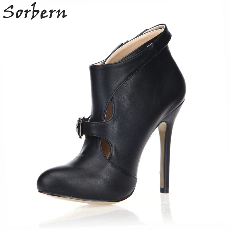 Sorbern Cut-out High Heel New Ankle Boots Woman Black Patent/PU Boots For Woman Shoes Stilettos Custom Colors Women Heels collectible washable full body vinyl silicone reborn toddler princess girl baby alive doll toys for children birthday gift dolls