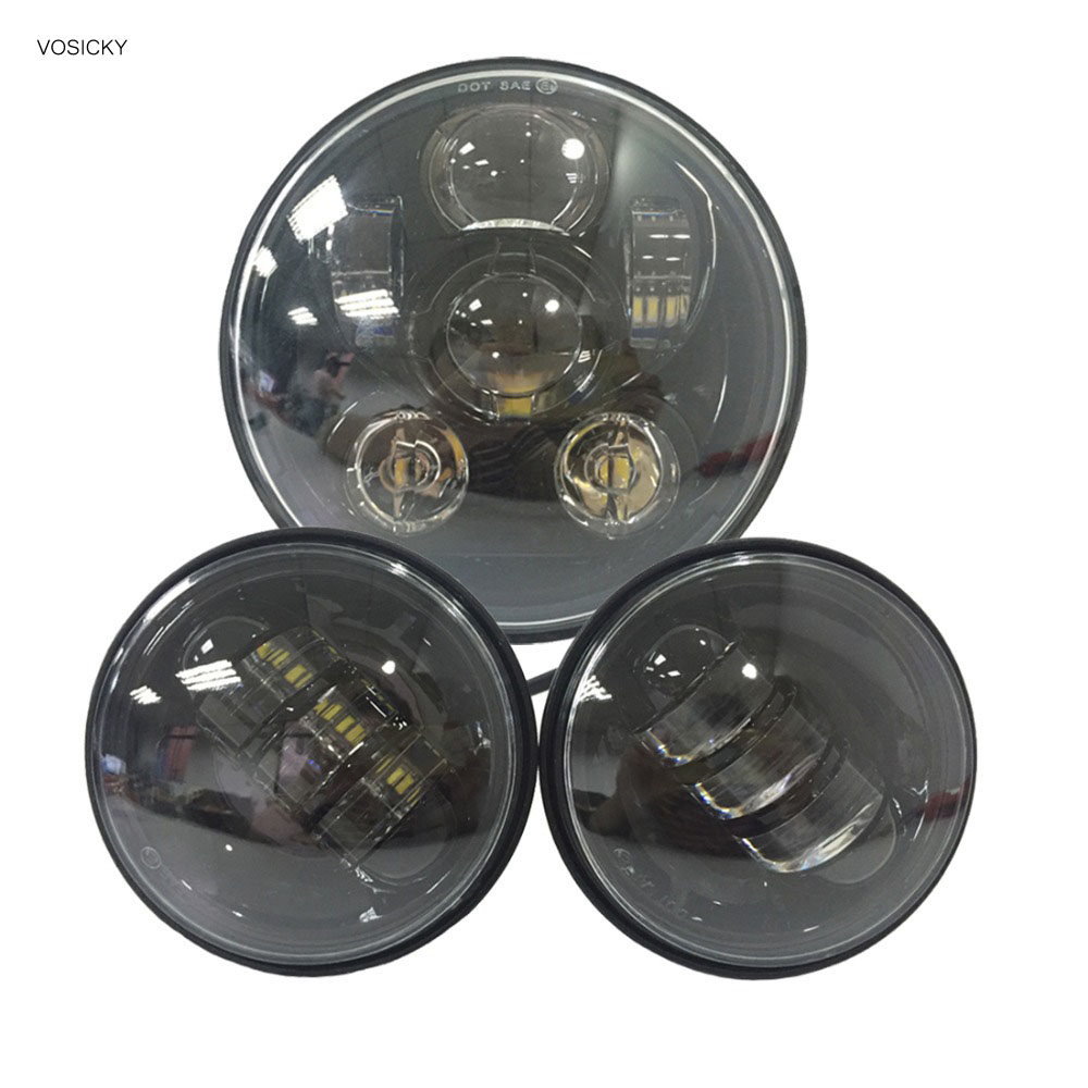 VOSICKY 5.75 inch Led Daymaker Headlight 4.5inch Fog Light Passing Lamps Automobile For Harley Sportster Xl 7 inch 75w harley daymaker led headlights 2x 4 5 inch 30w fog light passing lamps for harley davidson motorcycle
