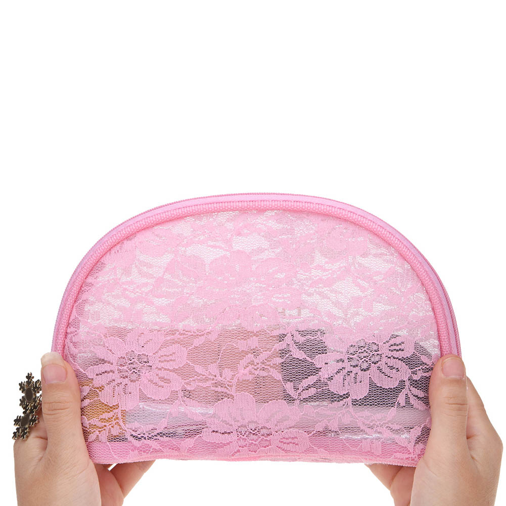2018 New Arrival Women Female Pink Lace Makeup Bag Daily Use Travel Zipper Shell Bags Girls Cosmetics Storage Pouch Popular