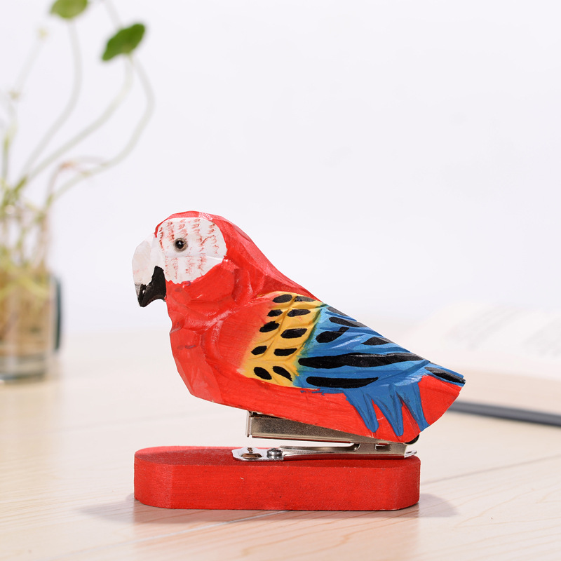 Learned Handmade Carving Wood Forest Vintage Animal Standard Stapler Red Parrot Owl White Swan Alpaca Staplers School Office Stationery Latest Fashion Office Binding Supplies Stapler