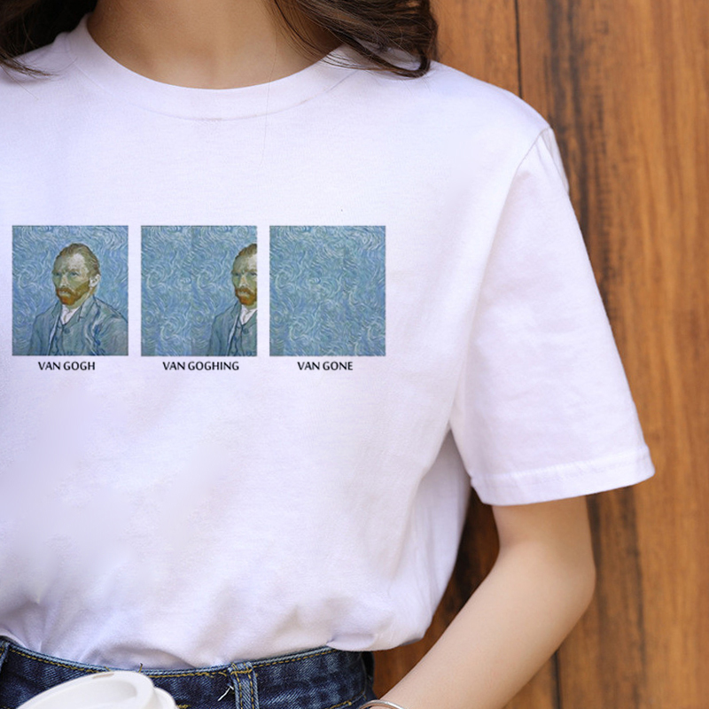 Van Gogh Harajuku Aesthetic <font><b>Funny</b></font> <font><b>T</b></font> <font><b>Shirt</b></font> <font><b>Women</b></font> Ullzang Grunge Vintage <font><b>T</b></font>-<font><b>shirt</b></font> 90s Korean Style Tshirt Fashion Top Tees Female image
