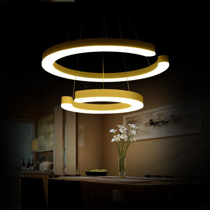Double ring 30+50cm DIY adjustable pendant lamp,dining room living room restaurant pendant lights,54w warm white a1 master bedroom living room lamp crystal pendant lights dining room lamp european style dual use fashion pendant lamps