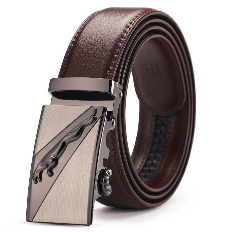 Men's Genuine Leather   Belt   Brown Automatic Buckle Plus Size Waist Strap Business Male Cintos High Quality