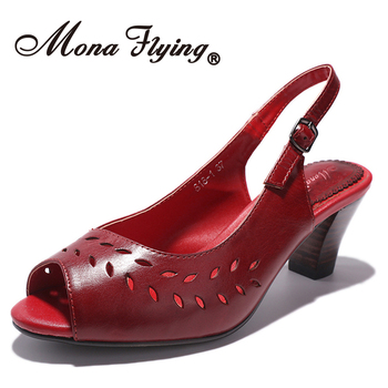 Mona Flying Genuine Leather Open-toe Ankle Strap Heeled Sandals Pumps Summer Casual Shoes 818-1