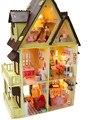 Diy ручной работы из дерева мини-кукольный дом 1:12 большой дом 3d кукольные домики, Собрал модель здания, Творческий рождественский подарок