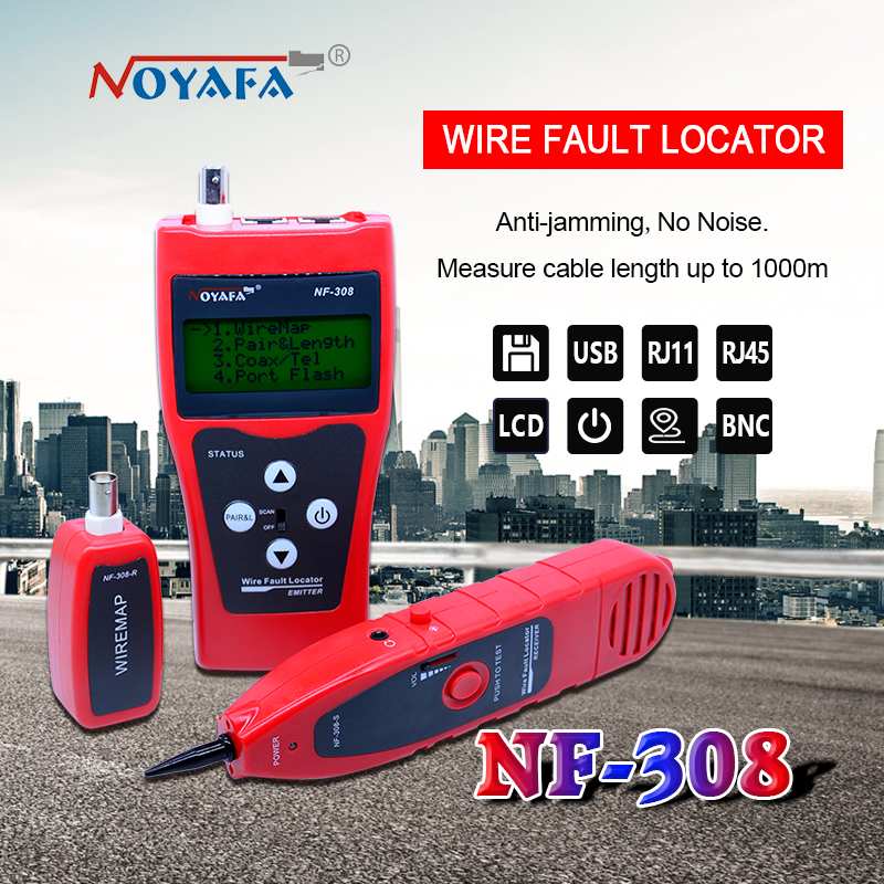 Network monitoring cable tester LCD NF-308 Wire Fault Locator LAN Network Coacial BNC USB RJ45 RJ11 red color bnc female to rj45 network testing cable black