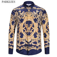 Luxury Brand Mens Dress Shirts Long Sleeve Chemise Homme 2018 Fashion Printed Baroque Style Slim Fit