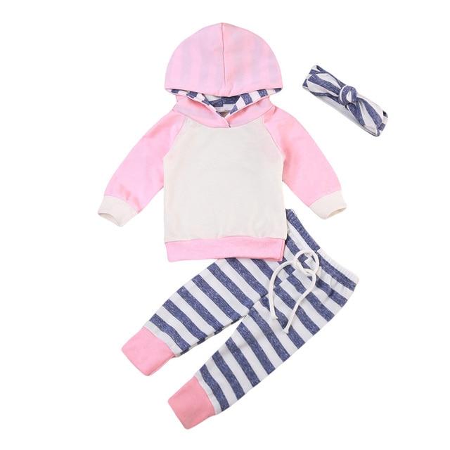 ca5f438d80846 3 pcs Newborn Baby Boy Girl Hooded Hoodie Top Striped Leggings Pants  Headband Hat Outfits Pink Light Green Clothing Set