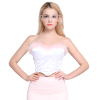 2019 spring new Sexy Fur Contrast color Satin Corset Lumbar Tube top Women prom Inside coat zipper