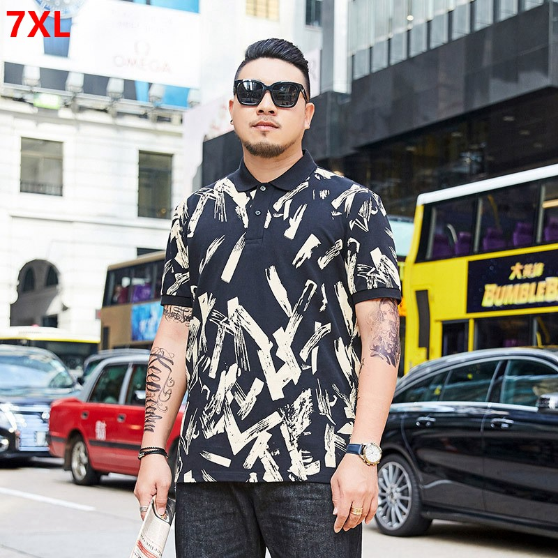 Summer   polo   shirt plus size XL short-sleeved   Polo   Shirts lapel Paul tide brand oversized men's clothing 7XL 6XL