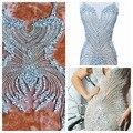 Ручная работа пришить стразы аппликация на сетке серебро/красный/золотой/синие кристаллы патчи 86*40 см/75*35 см свадебное платье аксессуар