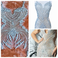 Pure hand made sew on Rhinestones applique on mesh silver crystals patches 86*30cm wedding dress accessory