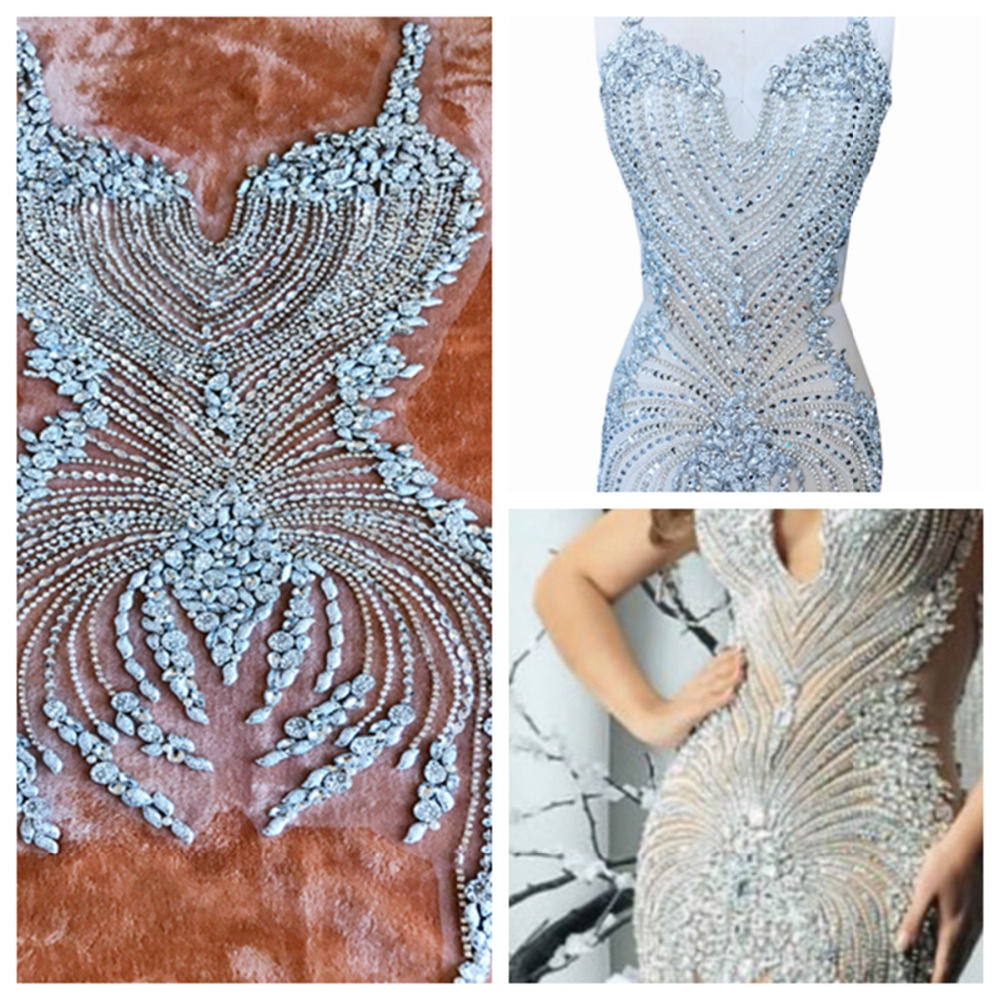 Pure hand made sew on Rhinestones applique on mesh silver crystals patches 86*38cm wedding dress accessory
