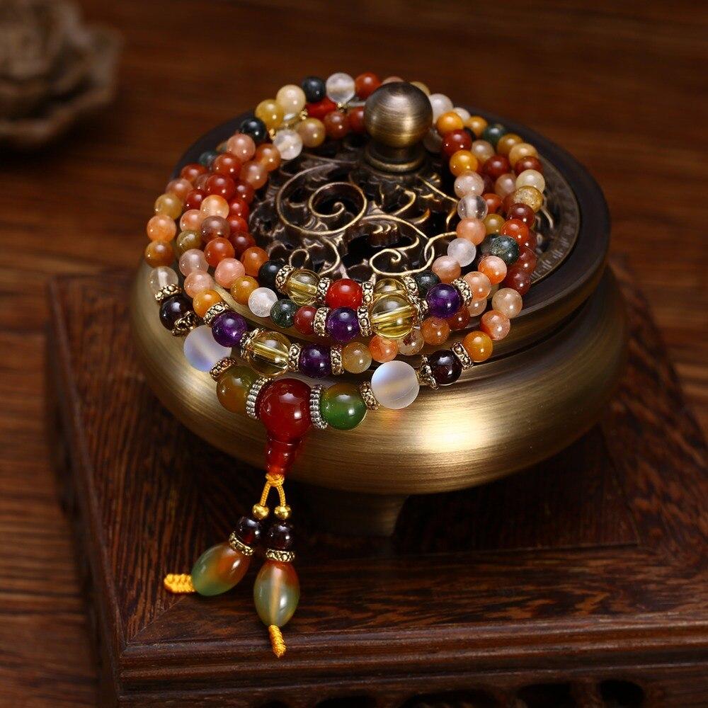 Natürliche Bunte Kristall Quarz Perlen Buddhistischen Armband Halskette 108 stücke Gebetskette Mala Armband/Halskette für Frauen Mädchen