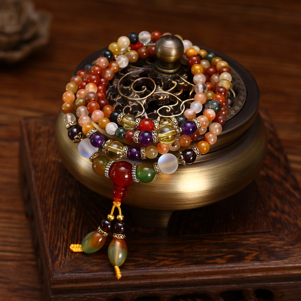 Natural Colorful Crystal Quartz Beads Buddhist Bracelet Necklace 108Pcs Prayer Bead Mala Bracelet Necklace for Women