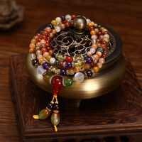 Natural Colorido de Cristal de Quartzo Contas de Oração Talão Mala Budista Pulseira Colar 108 pcs Pulseira/Colar para As Mulheres Menina