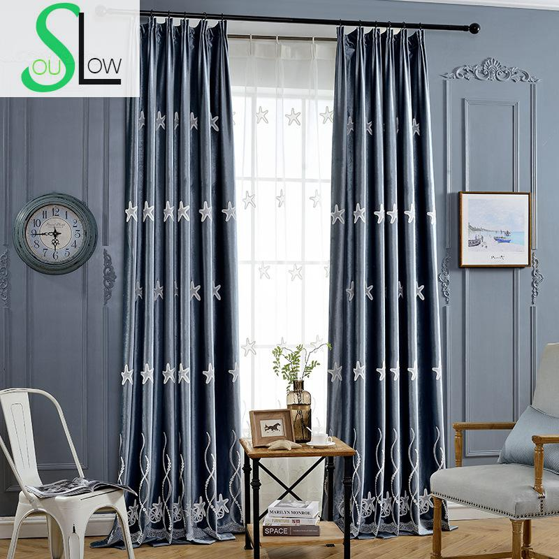 Slow Soul Star Marine Blue Pink Good Quality Velvet Curtain Embroidered European Style Curtains For Living Room Bedroom Tulle In From Home Garden