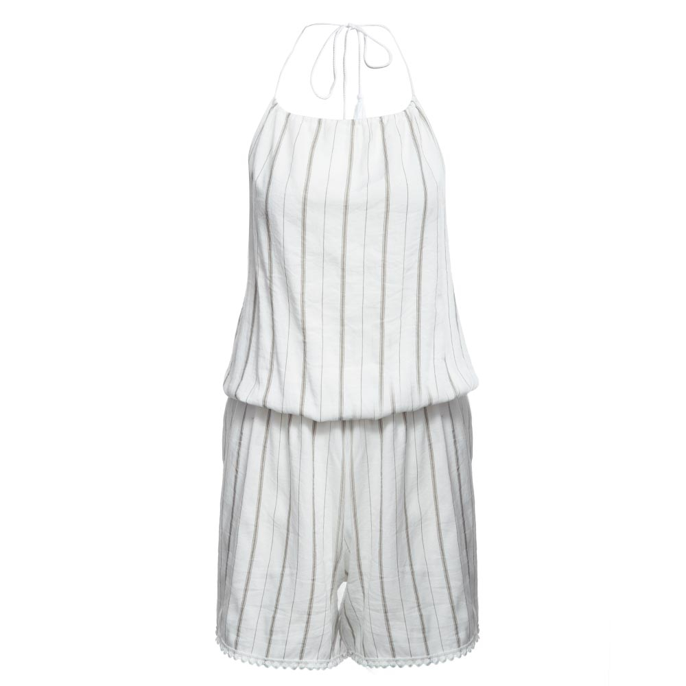 Sleeveless Summer Style Beach Rompers Women Jumpsuit Ladies Sexy Vertical Stripe Backless Cutaway Rompers