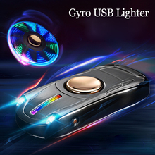 USB lighter rechargeable spiral gyro toy fingertip manual rotator charging windproof plasma with lighting