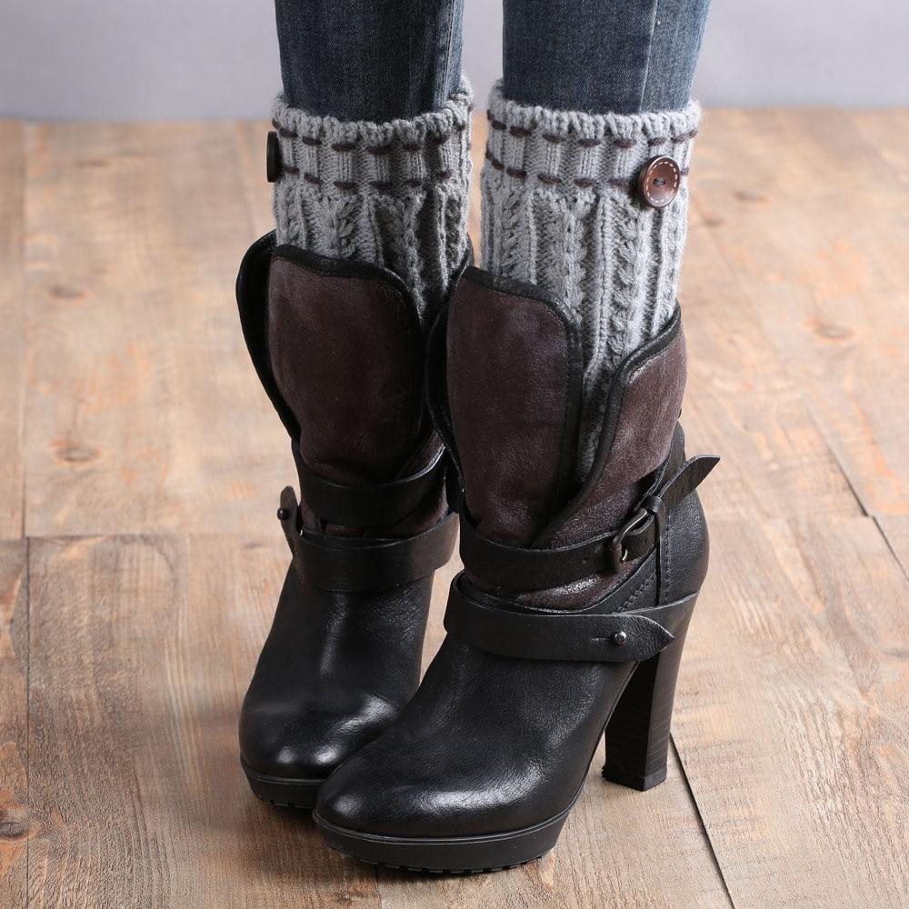 2019 Hot Women Winter Short Leg Warmers Hemp Flowers Pattern Hidden Line Design Knitted Crochet Boot Cover Keep Warm Boots Socks