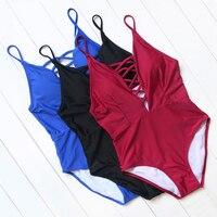 2016 New Design Swimwear Women Summer High Neck One Piece Swimsuit Printed Padded Bodysuits Monokini Bandage