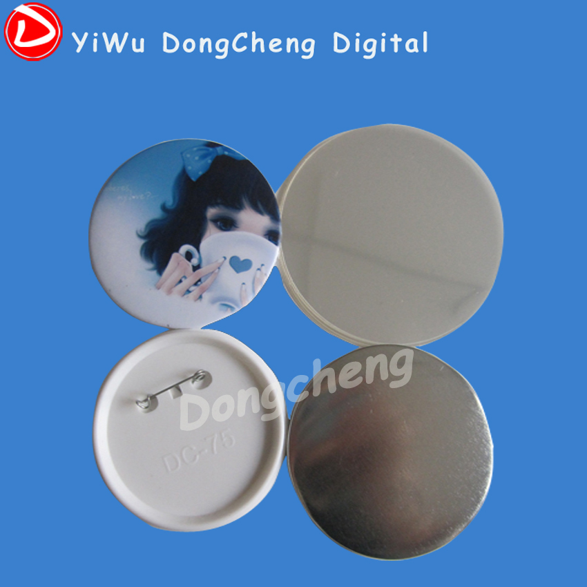 factory direct sale1000stes( 75mm) pin button badge componets,badge button material badges fast free shipping discount 75mm 100 sets professional badge button maker pin back pinback button supply materials