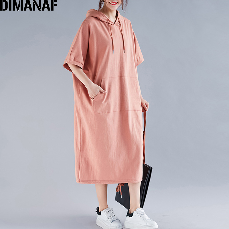 Image 3 - DIMANAF Plus Size Women Dress Summer Cotton Hooded Lady Vestidos Female Clothing Casual Loose Big Size Long Dress Solid 5XL 6XL-in Dresses from Women's Clothing