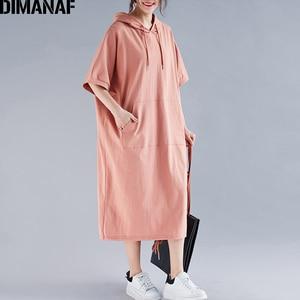 Image 3 - DIMANAF בתוספת גודל נשים שמלת קיץ כותנה סלעית ליידי Vestidos נשי בגדים מזדמן רופף גדול גודל ארוך שמלת מוצק 5XL 6XL