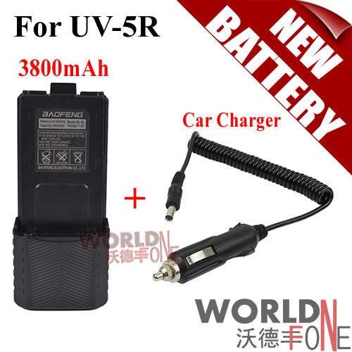 Baofeng UV-5R Batterie BL-5L Étendue 3800 mAh (Noir) 7.4 V Li ion Batterie Rechargeable Batterie + Chargeur De Voiture câble