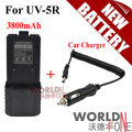 Baofeng UV-5R Battery BL-5L Extended 3800mAh(Black) 7.4V Li ion Battery Rechargeable Battery + Car Charger Cable