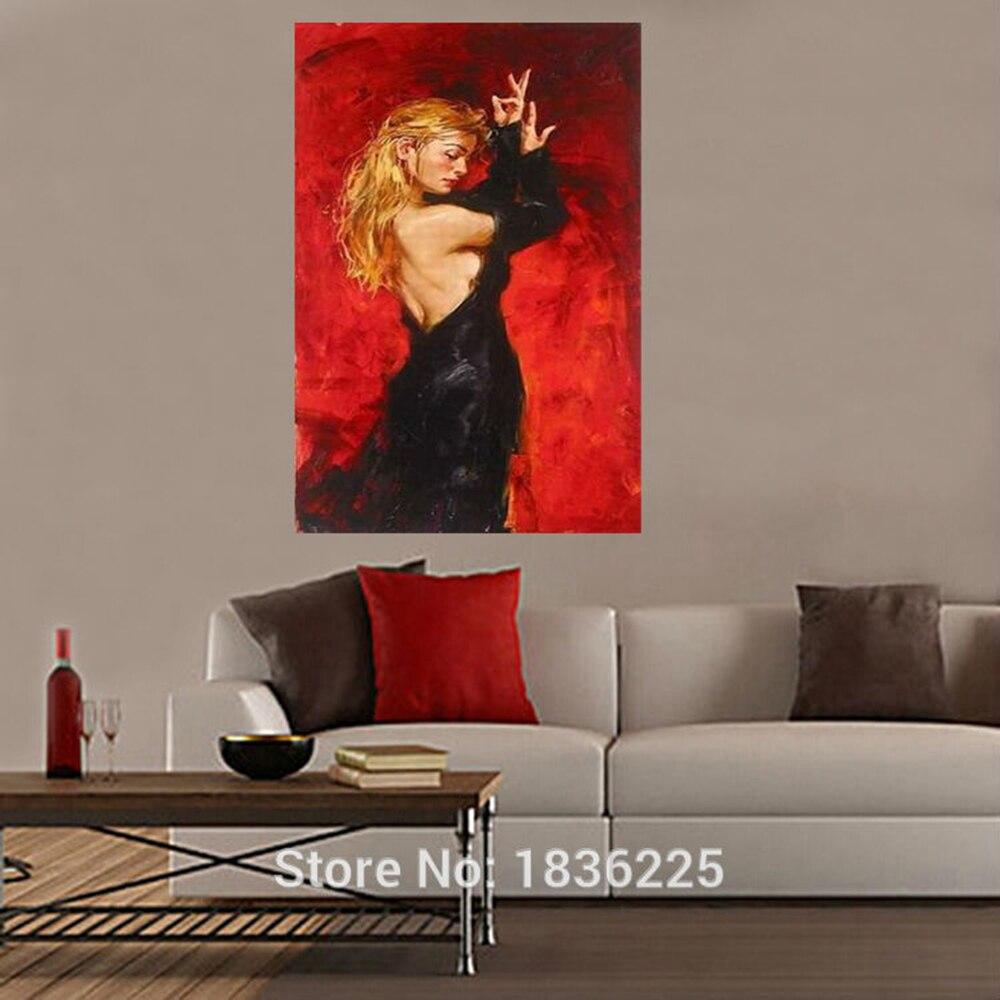 e4474753dfe5 Spanish Flamenco Dancer Painting Black Dress Latina Woman Oil ...