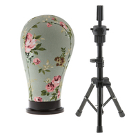 Adjustable Cork Canvas Block Mannequin Model Head Wig Making Display Tripod Stand 21' Hair Styling Practice Mold Clamp