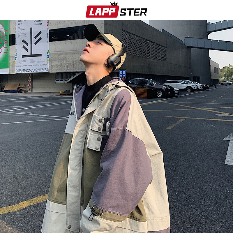 LAPPSTER Men Oversized Streetwear 2020 Bomber Jackets 2020 Patchwork Color Block Cargo Windbreaker Jackets Coats Korean Clothes