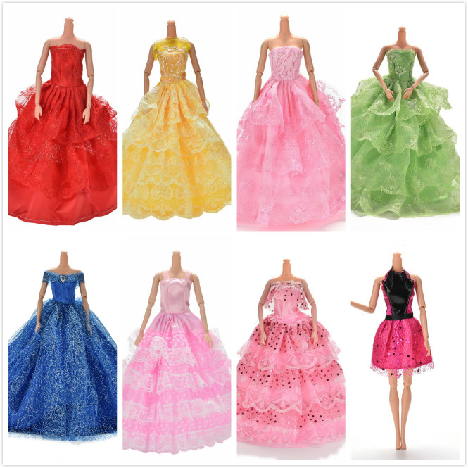 High Quality Handmake Wedding Princess Dress Elegant Clothing Gown For Barbie Doll Dresses