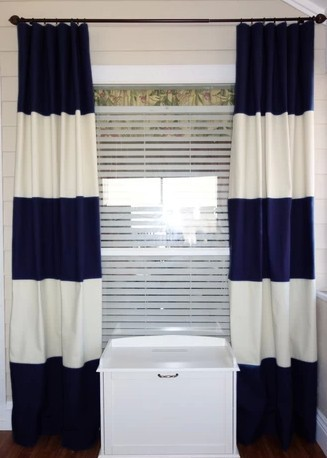 Finished Navy Striped Curtain Modern Style Living Room For Home Window Nursery