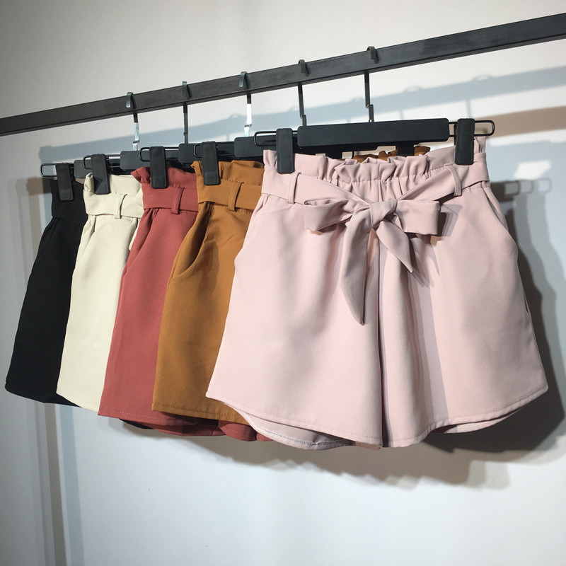 2018 New Summer Autumn Fashion Elastic Sashes High Waist   Shorts   Women Vintage Wide Leg   shorts   Solid Thin Bow Female   Shorts   Mw204
