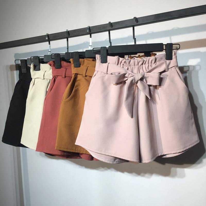 2018 New Summer Autumn Fashion Elastic Sashes High Waist   Shorts   Women Vintage Wide Leg   shorts   Solid Thin Bow Female   Shorts   Mw204