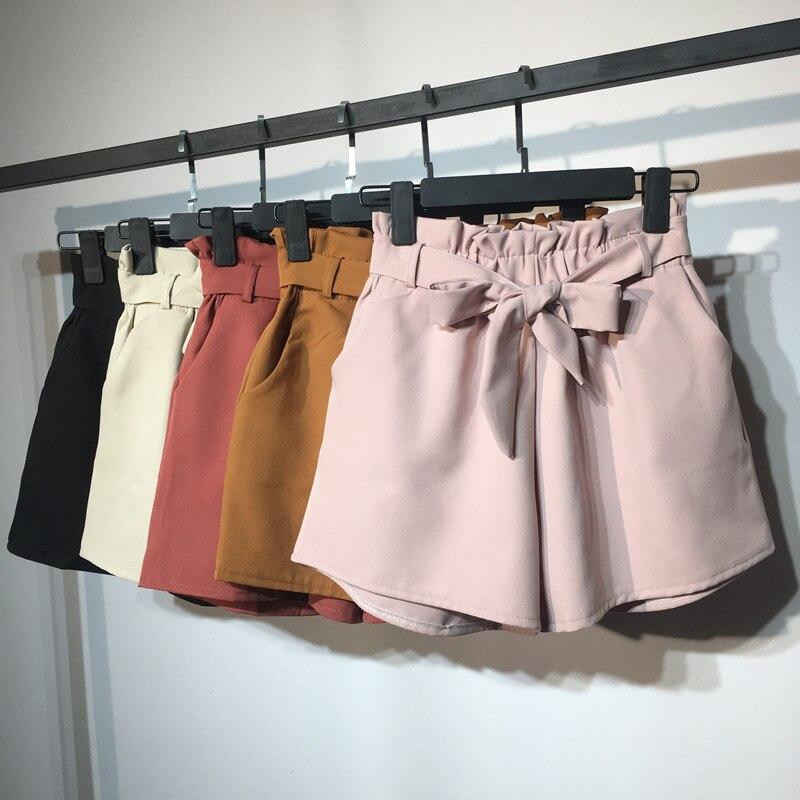 2018 новые летние осенние модные эластичные пояса с высокой талией шорты женские винтажные широкие Шорты однотонные тонкие женские шорты Mw204