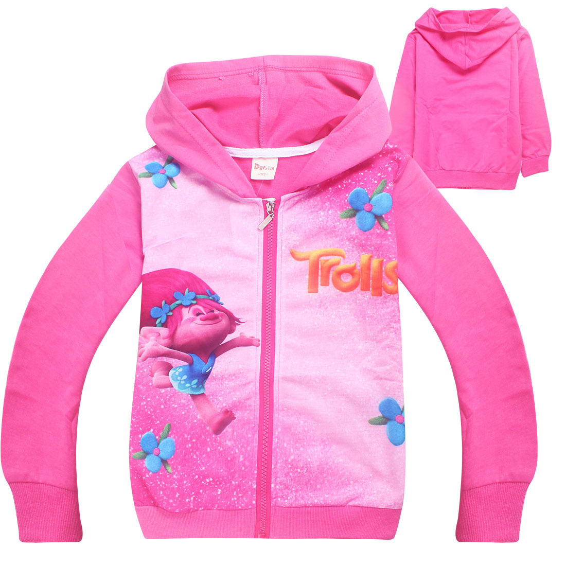 2018 Spring Autumn Girls Hoodies Trolls Zipper Jacket Kids Outerwear Girls Sweatshirt Children Clothes Baby Girl Clothes цены