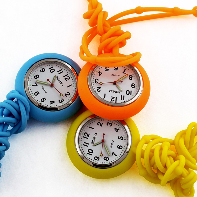 Colored Circles Nurse Clip-on Fob Brooch Pendant Hanging Pocket Watch For women